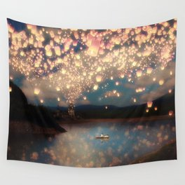 Love Wish Lanterns Wall Tapestry