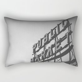 Seattle Pike Place Public Market Black and White Rectangular Pillow