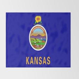 flag Kansas-america,usa,middlewest,Sunflower State, Kansan,Topeka,Wichita,Overland Park,Wheat State Throw Blanket