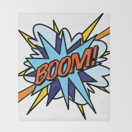 Comic Book Pop Art BOOM Throw Blanket