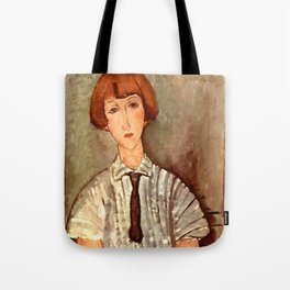 """Amedeo Modigliani """"Young Girl in a Striped Blouse"""" Tote Bag"""