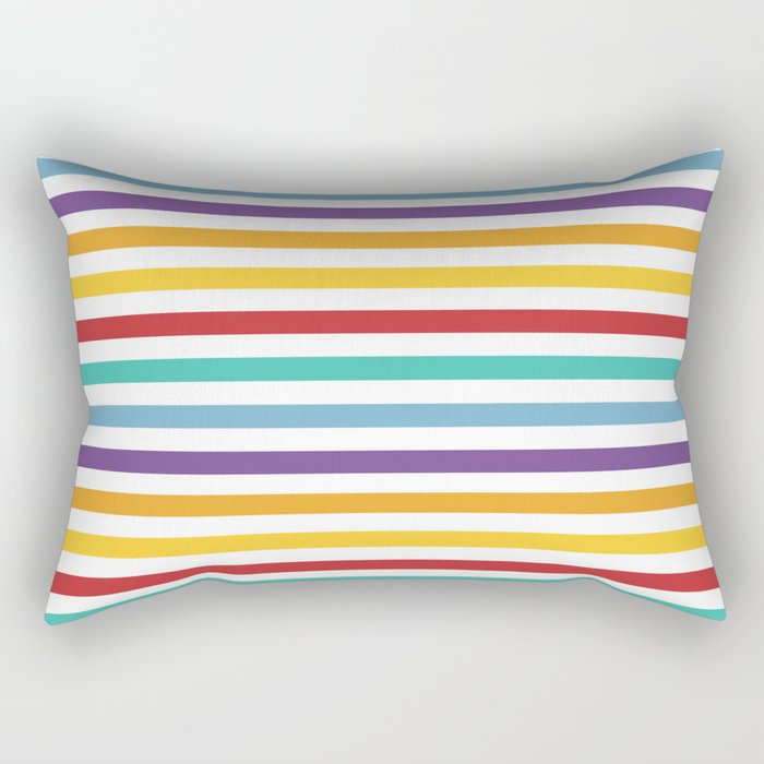 Modern geometrical colorful rainbow stripes Rectangular Pillow