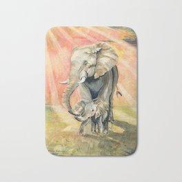 Mom and Baby Elephant Bath Mat