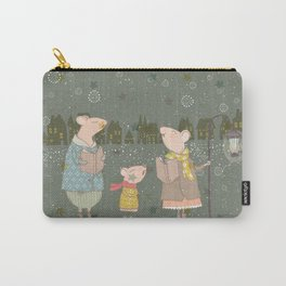 Cute Christmas Mice Family Winter Scene Carry-All Pouch