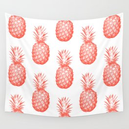 Coral Pineapple Wall Tapestry