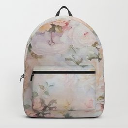 Vintage romantic blush pink ivory elegant rose floral Backpack