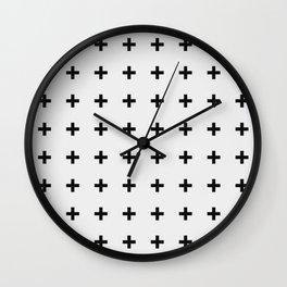 Black Plus on White /// Black n' White Series Wall Clock