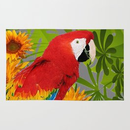JUNGLE ART RED-BLUE MACAW PARROT & SUNFLOWERS Rug