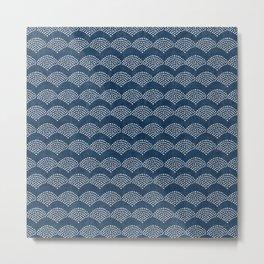 Wabi Sabi Arches in Blue Metal Print