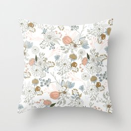 Elegant abstract coral pastel blue modern rustic floral Throw Pillow