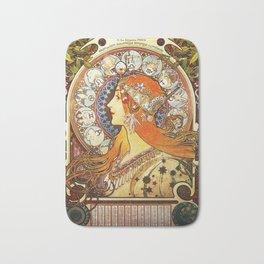 Alphonse Mucha La Plume Zodiac Bath Mat