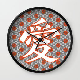 Eastern Love POPPY RED / Japanese character for love Wall Clock