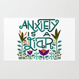 Anxiety is A Liar (teal) Rug