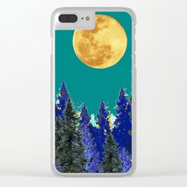 BLUE FOREST TEAL SKY MOON LANDSCAPE ART Clear iPhone Case