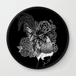 Rooster&Camellia Hat, White on Black Wall Clock