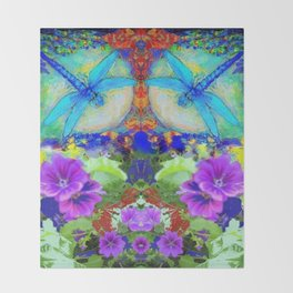 "BLUE ""ZINGER"" DRAGONFLIES  & PURPLE FLOWERS ART Throw Blanket"