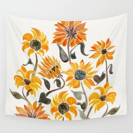 Sunflower Watercolor Yellow Black Palette Wall Tapestry