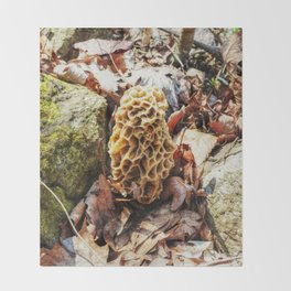 Morel Mushroom in the Wild Throw Blanket