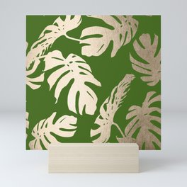 Palm Leaves White Gold Sands on Jungle Green Mini Art Print