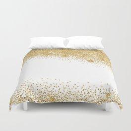 Sparkling golden glitter confetti effect Duvet Cover