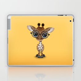 Cute Curious Baby Giraffe Wearing Glasses Laptop & iPad Skin