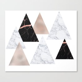 Marble rose gold geometric triangles Canvas Print