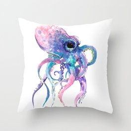 Octopus, Pink purple sea animals design underwater scene painting Throw Pillow