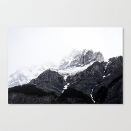 Moody snow capped Mountain Peaks - Nature Photography Canvas Print
