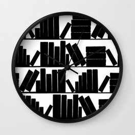 Library Book Shelves, black and white Wall Clock