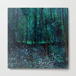 Vincent Van Gogh Trees & Underwood Teal Green Metal Print