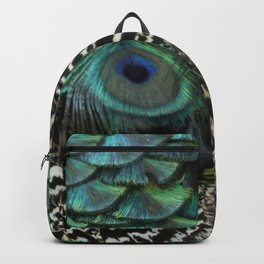 Peacock Bird Feathers Plumage Texture 1 Backpack