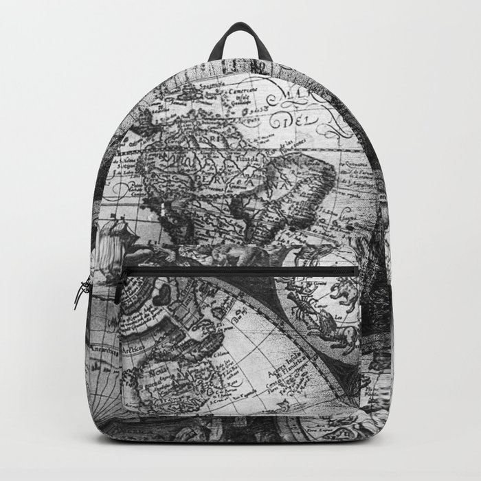 World Map Antique Vintage Black and White Backpack
