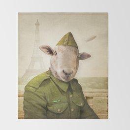 Private Leonard Lamb visits Paris Throw Blanket