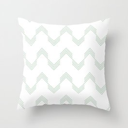 Deconstructed Chevron in Pastel Cactus Green on White Throw Pillow
