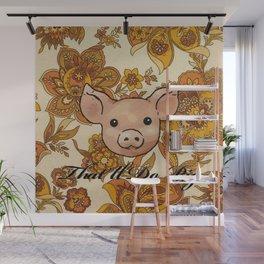 Retro Floral Piggy Wall Mural