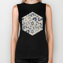 Hand Painted Triangle & Honeycomb Ink Pattern - indigo & cream Biker Tank