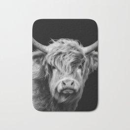 Highland Cow Black And White Bath Mat