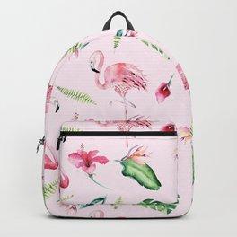 Blush pink green watercolor monster leaves flamingos pattern Backpack