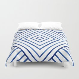 Watercolor lines pattern | Navy blue Duvet Cover