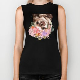 Baby Sloth with Flowers Crown in White Biker Tank