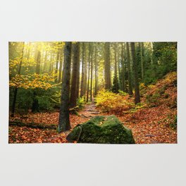 Path Through The Trees - Landscape Nature Photography Rug