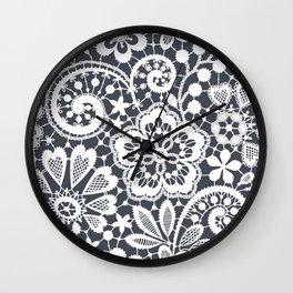 White Lace. Seamless Pattern. Wall Clock