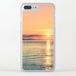 Pastel Sunset Calm Blue Water Clear iPhone Case