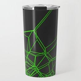 Green voronoi lattice on black background Travel Mug
