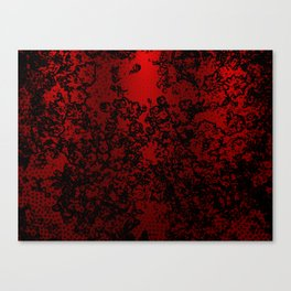 Red and black abstract decorative floral arabesque motif with metallic look Canvas Print