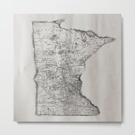 Old Map of Minnesota Metal Print