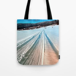 Winter road into the mountains Tote Bag