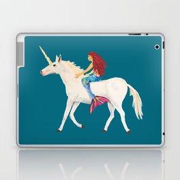 Red Haired Mermaid Rides the Unicorn Laptop & iPad Skin