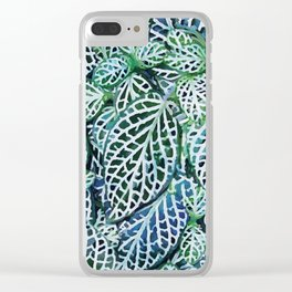 Tropical Leaves Fittonia Nerve Plant #watercolor #decor #society6 #pattern Clear iPhone Case