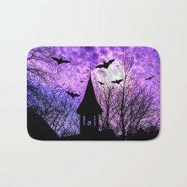 Bats in a full moon night Bath Mat